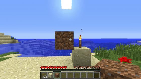 В соседних с факелом блоках можно строить в майнкрафт