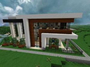дом в стиле модерн в Minecraft